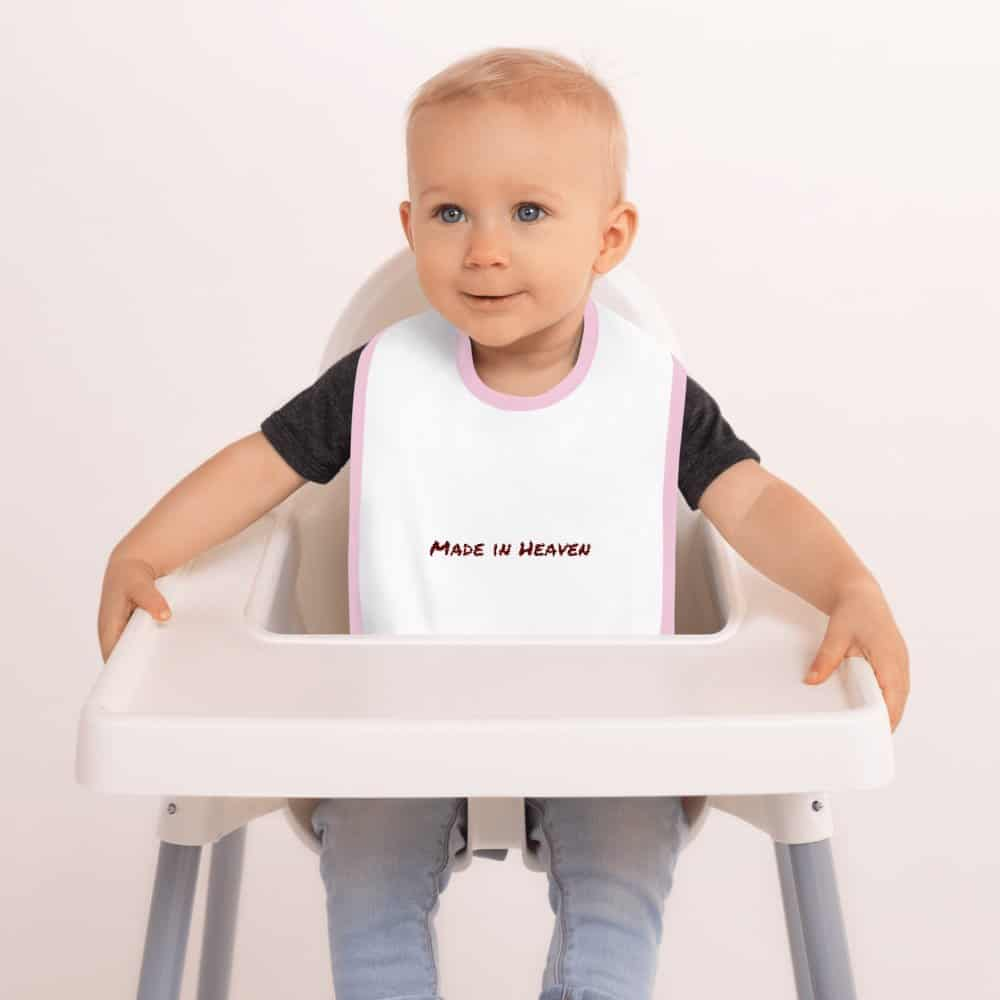 Made in Heaven Embroidered Baby Bib